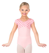 Girls Polka Dot Pinched Front Short Sleeve Leotard