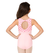 Girls Polka Dot Keyhole Back Tank Leotard