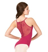 Adult Floral  Mesh Button Back Camisole Leotard