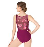 Womens Floral Printed Mesh Back Camisole Leotard