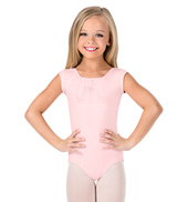 Girls Glitter Mesh Front Short Sleeve Leotard