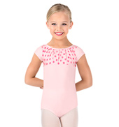 Girls Polka Dot Gathered Front Short Sleeve Leotard
