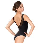 Adult Stripe Mesh V-Back Tank Leotard