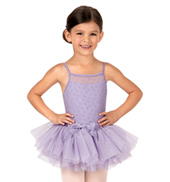 Girls Bow Flock Mesh Camisole Dress
