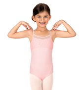 Girls Bow Flock Mesh Camisole Leotard
