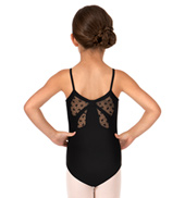 Girls Bow Flock Mesh Cutout Back Camisole Leotard