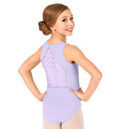 Girls Crinkle Sequin Mesh Tank Leotard