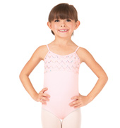 Girls Crinkle Sequin Mesh Camisole Leotard