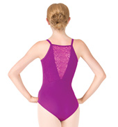 Adult Camisole Textured Floral Lace Insert Leotard