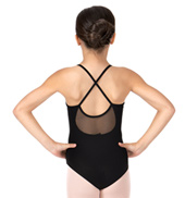 Girls Soft Mesh Criss-Cross Back Camisole Leotard