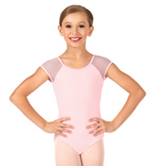 Girls Soft Mesh Short Sleeve Leotard