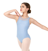Girls Hologram Sequin Mesh Twin Double Strap Tank Leotard