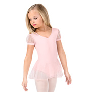 Girls Glitter Mesh Short Sleeve Ballet Dress