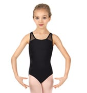 Girls Strappy Mesh Back Tank Leotard