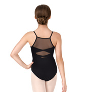 Girls Double Bow Mesh Back Camisole Leotard