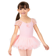 Girls Sequin Flower Puff Short Sleeve Ballet Tutu Dress