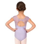 Girls Bow Flock Mesh Short Sleeve Leotard