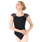 Adult Short Sleeve Textured Floral Lace Leotard