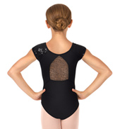 Child Short Sleeve Sequin Tulle Leotard