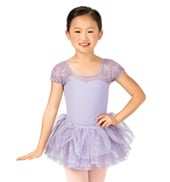 Child Puff Sleeve Sequin Tulle Leotard