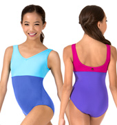 Girls Tasha V-Neck Two-Tone Tank Leotard