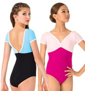 Girls Zia Two-Tone Short Sleeve Leotard