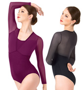 Adelaida Long Sleeve Mesh Overlay Leotard