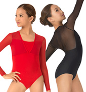 Girls Adelaida Long Sleeve Mesh Overlay Leotard