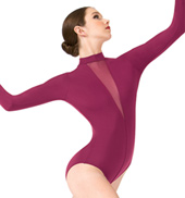 Ilona Deep V Mesh Long Sleeve Leotard