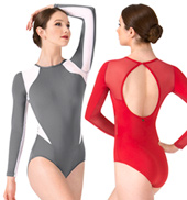 Thea Mesh Insert Long Sleeve Leotard