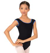 Girls Contrast Trim Cap Sleeve Leotard