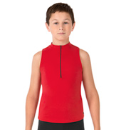 Boys Iliya Sleeveless Collared Zip Front Dance Top