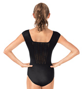 Adult Pleated Panel Back Short Sleeve Leotard