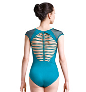 Womens Rouleaux Braid Strappy Back Cap Sleeve Leotard
