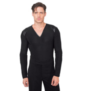 Mens V-Neck Faux Leather Insert Ballroom Leotard
