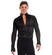 Mens Long Sleeve Cutout Ballroom Leotard