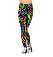 Girls Neon Zebra High Waist Leggings