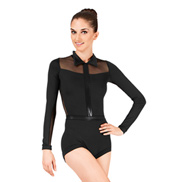 Adult Collared Pleather Shorty Unitard