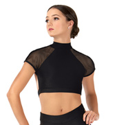 Womens Mesh Short Sleeve Dance Bra Top