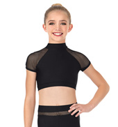 Girls Mesh Short Sleeve Dance Bra Top