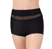 Womens Mesh Inset Dance Shorts