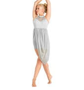 Adult Halter Shorty Unitard with Mesh Drape