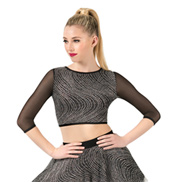 Adult Silver Swirl 3/4 Sleeve Crop Top