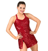 Womens Plus Size Sequin Tank Performance Dress Set
