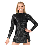 Womens Plus Size Sequin Long Sleeve Performance Dress