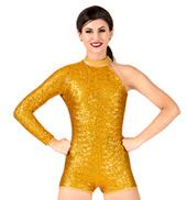 Womens Sequin Asymmetrical Performance Shorty Unitard
