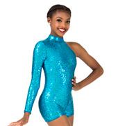 Girls Sequin Asymmetrical Performance Shorty Unitard