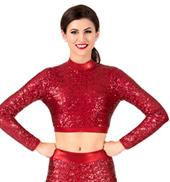 Womens Sequin Long Sleeve Performance Crop Top