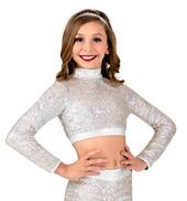 Girls Sequin Long Sleeve Performance Crop Top