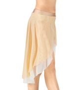 Adult Emballe Two-Tone Asymmetrical Mesh Lyrical Skirt